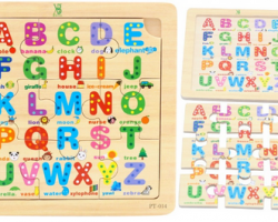 Color Wood 9 Pieces of Letter Puzzles (PT-014)