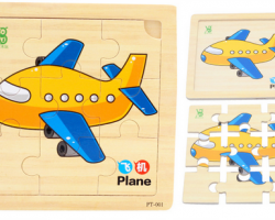 Color Wood 9 Pieces of The Plane Puzzles (PT-001)