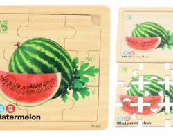 Color Wood 9 Pieces of Watermelon Puzzles (PT-010)