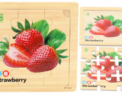Color Wood 9 Pieces of Strawberry Puzzles (PT-012)