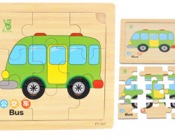 Color Wood 9 Pieces of Bus Puzzles (PT-003)