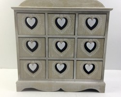 1702012 heart cabinet with 9 lattice