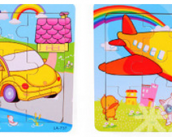 Color Wood 9 Pieces of Cartoon Puzzle (LA-737 LA-738)