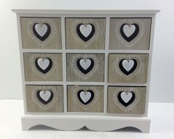 1702022 heart cabinet with 9 lattice white bottom