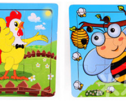 Color Wood 9 Pieces of Cartoon Puzzle (LA-714 LA-712)